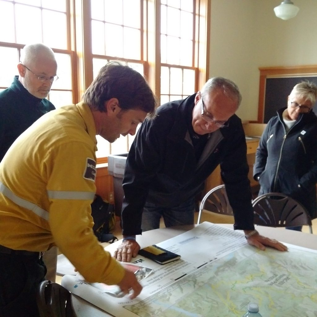 Getting an update at Waterton Park from Park Staff